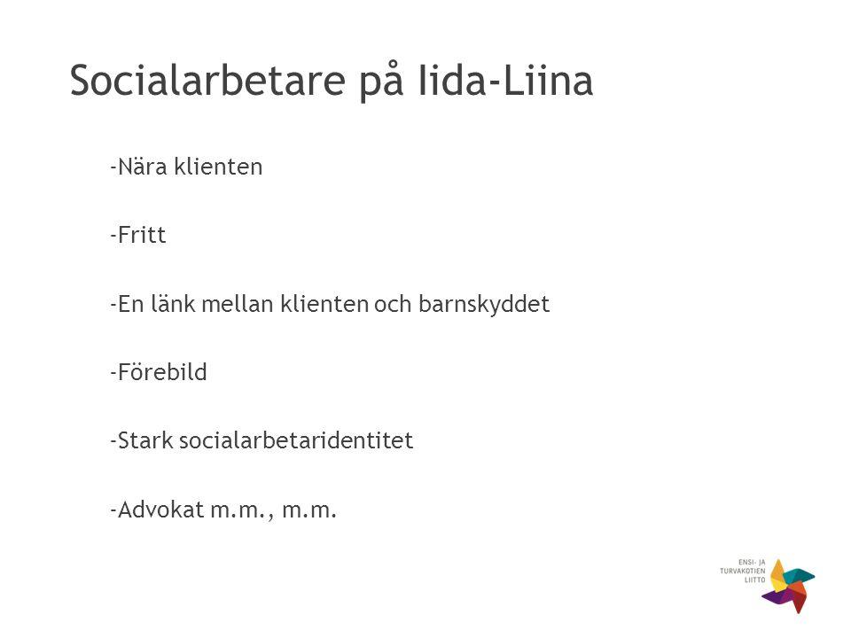 Socialarbetare på Iida-Liina -Nära klienten -Fritt -En länk mellan klienten och barnskyddet -Förebild -Stark socialarbetaridentitet -Advokat m.m., m.m.