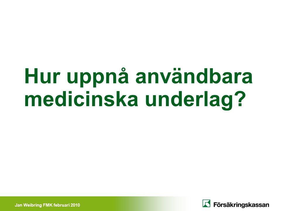 Jan Weibring FMK februari 2010 Försäkringsmedicinsk definition Försäkringsmedicin är ett kunskapsområde om hur funktionstillstånd, diagnostik, behandling, rehabilitering och förebyggande av sjukdom och skada påverkar och påverkas av olika försäkringars utformning samt därmed relaterade överväganden och åtgärder inom berörda professioner.