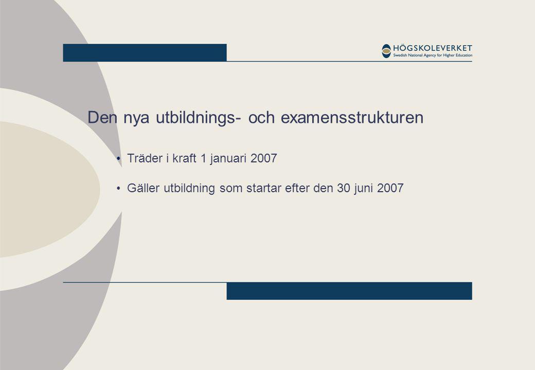 Den nya utbildnings- och examensstrukturen Träder i kraft 1 januari 2007 Gäller utbildning som startar efter den 30 juni 2007