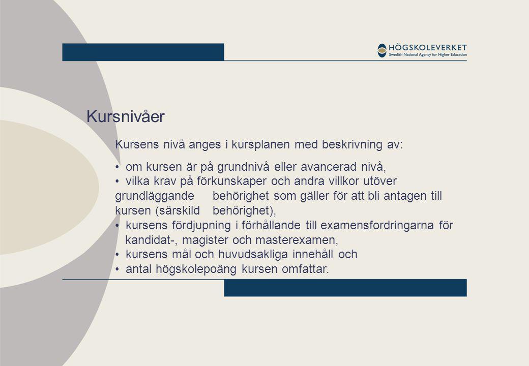 Kursnivåer Kursens nivå anges i kursplanen med beskrivning av: om kursen är på grundnivå eller avancerad nivå, vilka krav på förkunskaper och andra vi