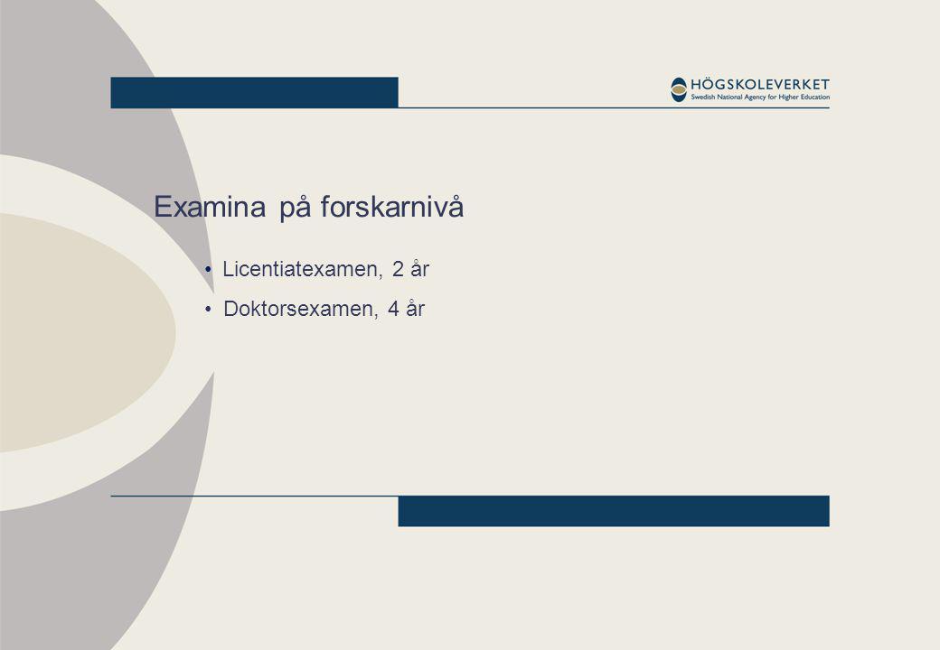 Examina på forskarnivå Licentiatexamen, 2 år Doktorsexamen, 4 år