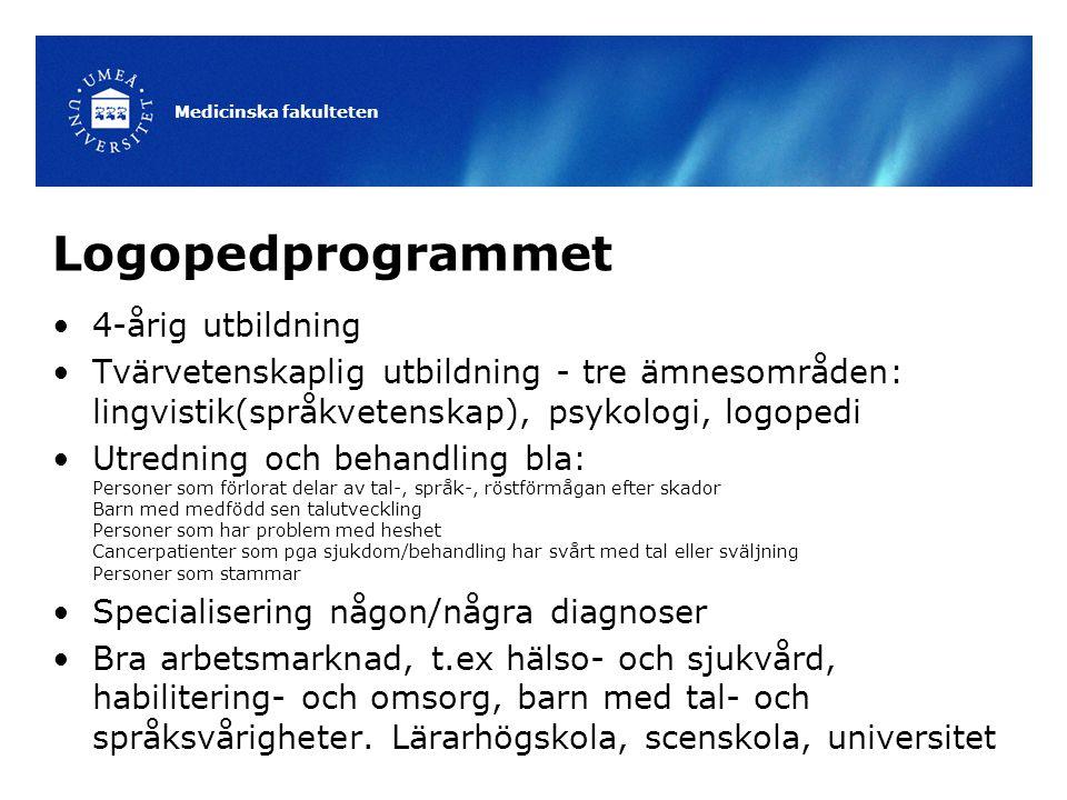 Logopedprogrammet 4-årig utbildning Tvärvetenskaplig utbildning - tre ämnesområden: lingvistik(språkvetenskap), psykologi, logopedi Utredning och beha