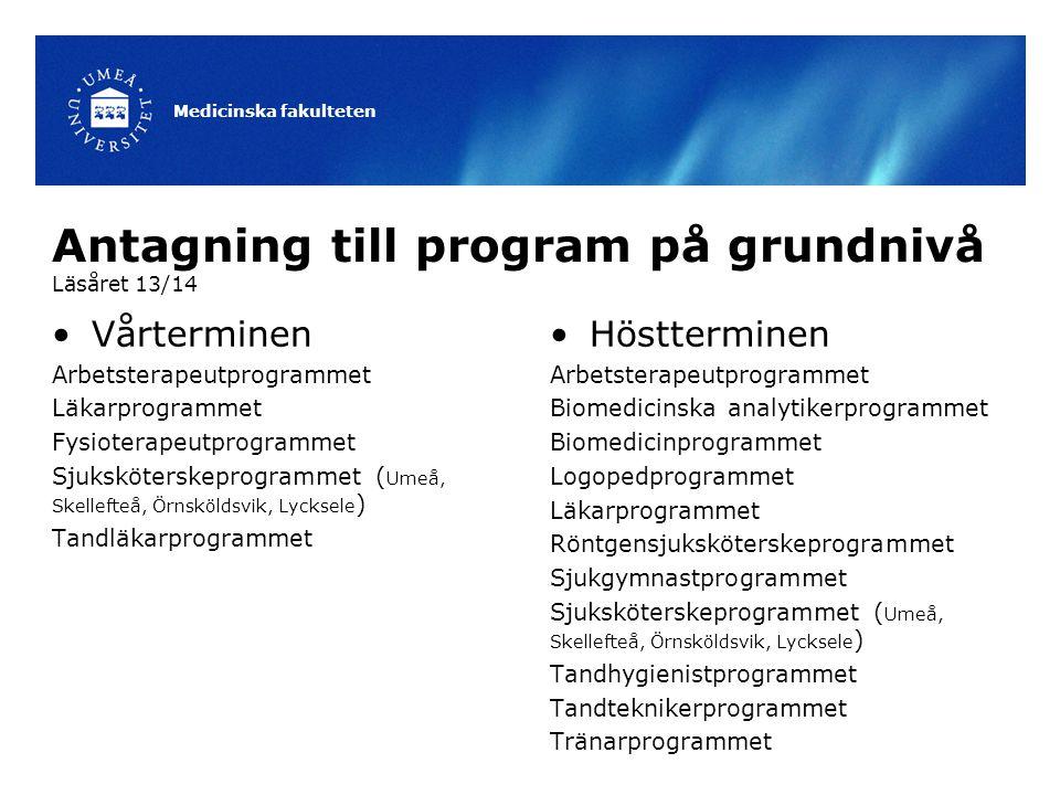 Antagning till program på grundnivå Läsåret 13/14 Vårterminen Arbetsterapeutprogrammet Läkarprogrammet Fysioterapeutprogrammet Sjuksköterskeprogrammet