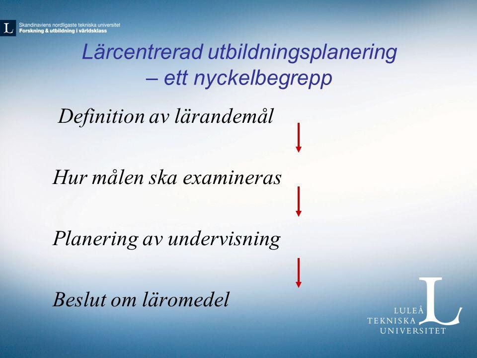 Lärcentrerad utbildningsplanering – ett nyckelbegrepp Definition av lärandemål Hur målen ska examineras Planering av undervisning Beslut om läromedel