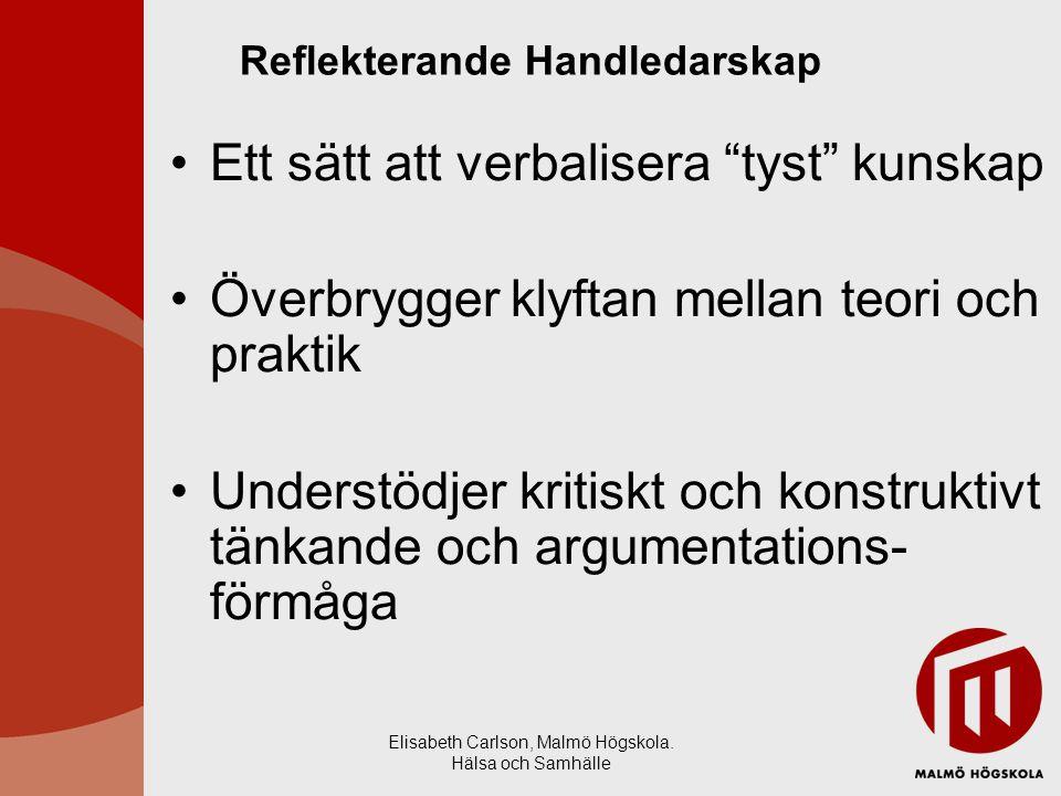 """Elisabeth Carlson, Malmö Högskola. Hälsa och Samhälle Reflekterande Handledarskap Ett sätt att verbalisera """"tyst"""" kunskap Överbrygger klyftan mellan t"""