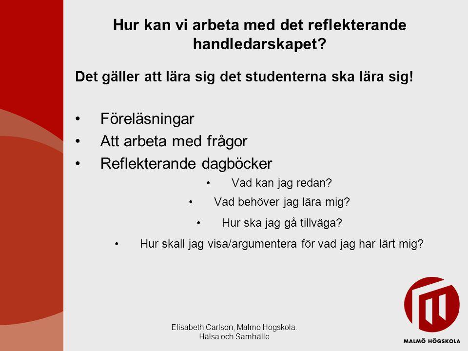 Elisabeth Carlson, Malmö Högskola. Hälsa och Samhälle Hur kan vi arbeta med det reflekterande handledarskapet? Det gäller att lära sig det studenterna