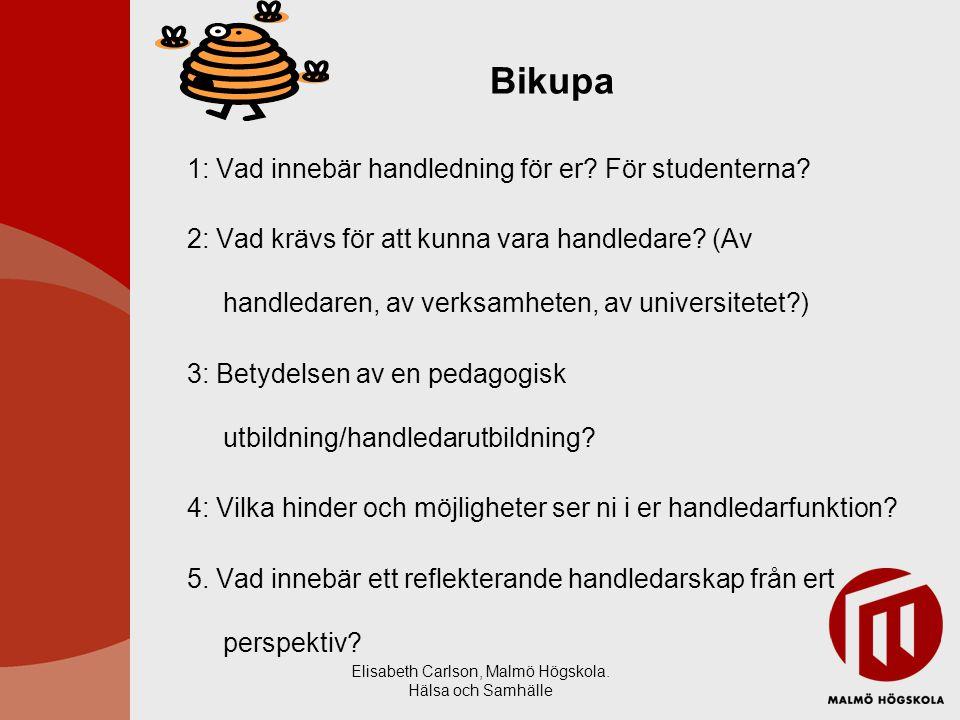 Elisabeth Carlson, Malmö Högskola. Hälsa och Samhälle Bikupa 1: Vad innebär handledning för er? För studenterna? 2: Vad krävs för att kunna vara handl