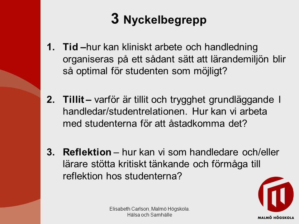 Elisabeth Carlson, Malmö Högskola. Hälsa och Samhälle 1.Tid –hur kan kliniskt arbete och handledning organiseras på ett sådant sätt att lärandemiljön