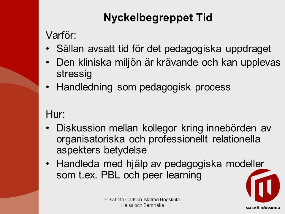 Elisabeth Carlson, Malmö Högskola. Hälsa och Samhälle Nyckelbegreppet Tid Varför: Sällan avsatt tid för det pedagogiska uppdraget Den kliniska miljön