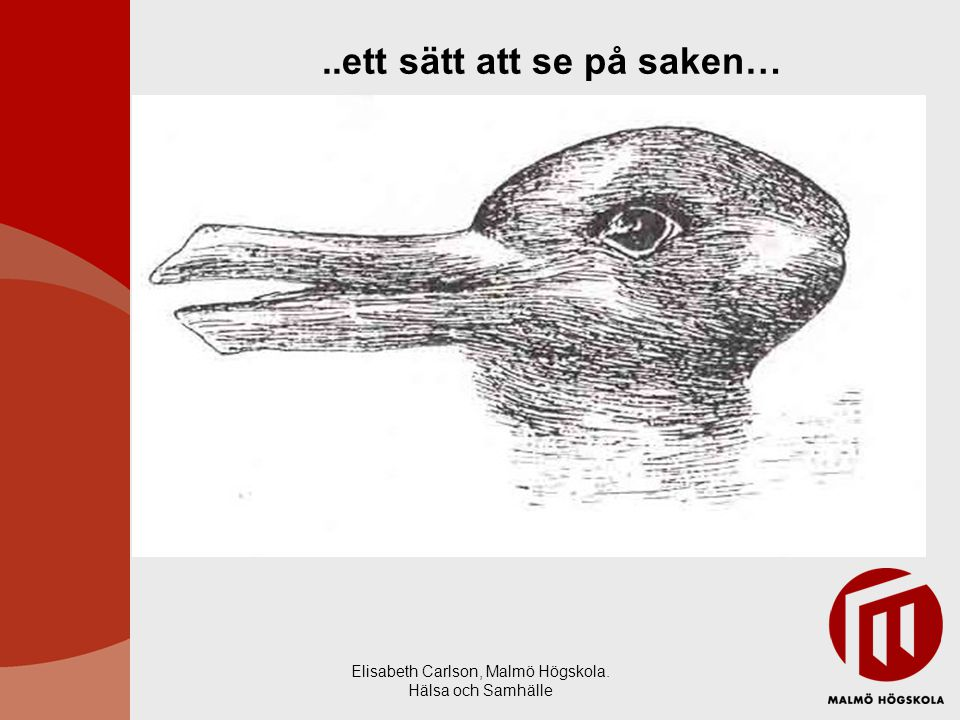 Elisabeth Carlson, Malmö Högskola. Hälsa och Samhälle..ett sätt att se på saken…