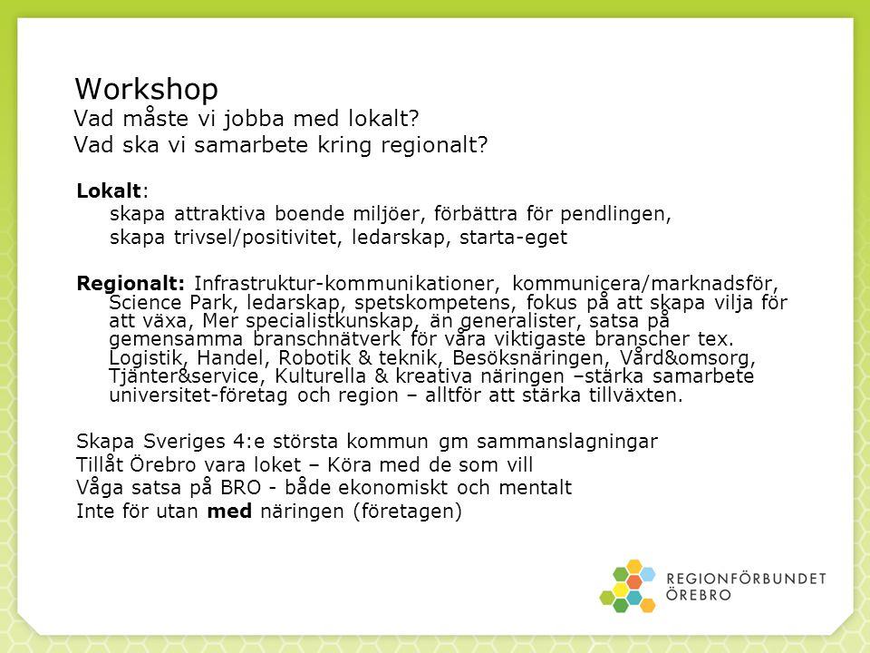 Workshop Vad måste vi jobba med lokalt. Vad ska vi samarbete kring regionalt.