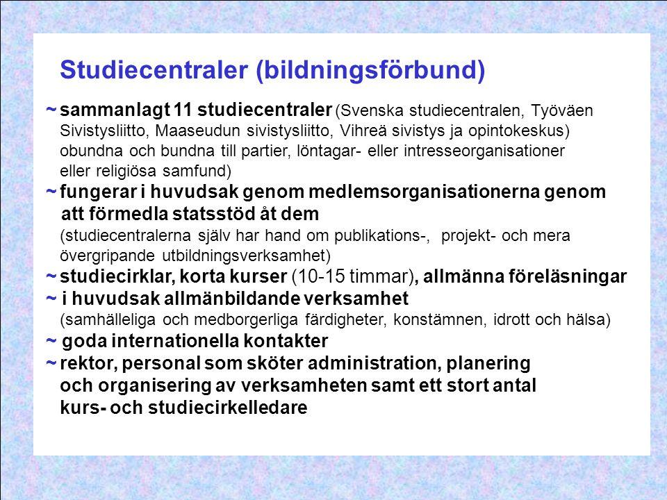 Studiecentraler (bildningsförbund) ~sammanlagt 11 studiecentraler (Svenska studiecentralen, Työväen Sivistysliitto, Maaseudun sivistysliitto, Vihreä s