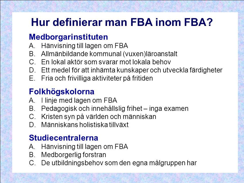 Hur definierar man FBA inom FBA? Medborgarinstituten A.Hänvisning till lagen om FBA B.Allmänbildande kommunal (vuxen)läroanstalt C.En lokal aktör som