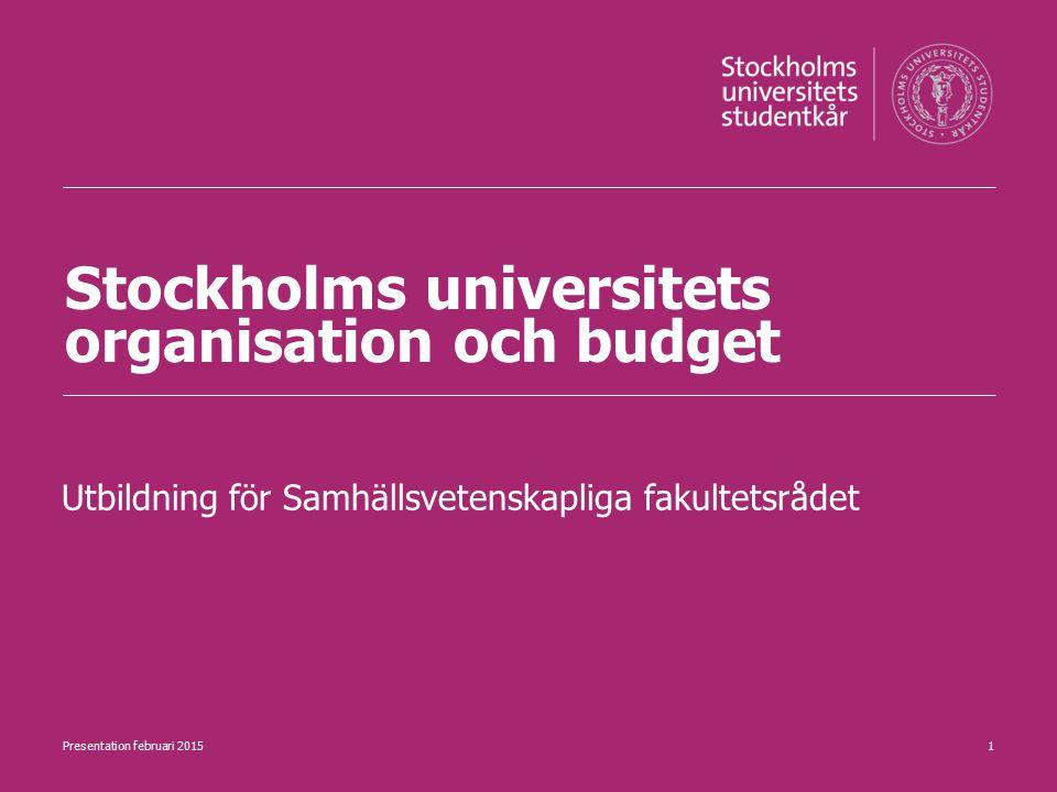 Stockholms universitets organisation och budget Utbildning för Samhällsvetenskapliga fakultetsrådet 1Presentation februari 2015