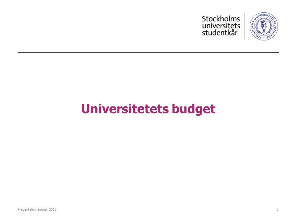 Universitetets budget Presentation augusti 20136