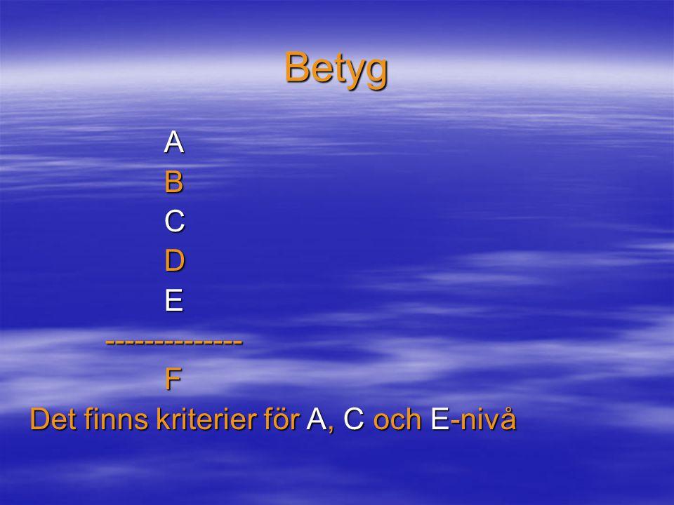 Betyg ABCDE -------------- --------------F Det finns kriterier för A, C och E-nivå