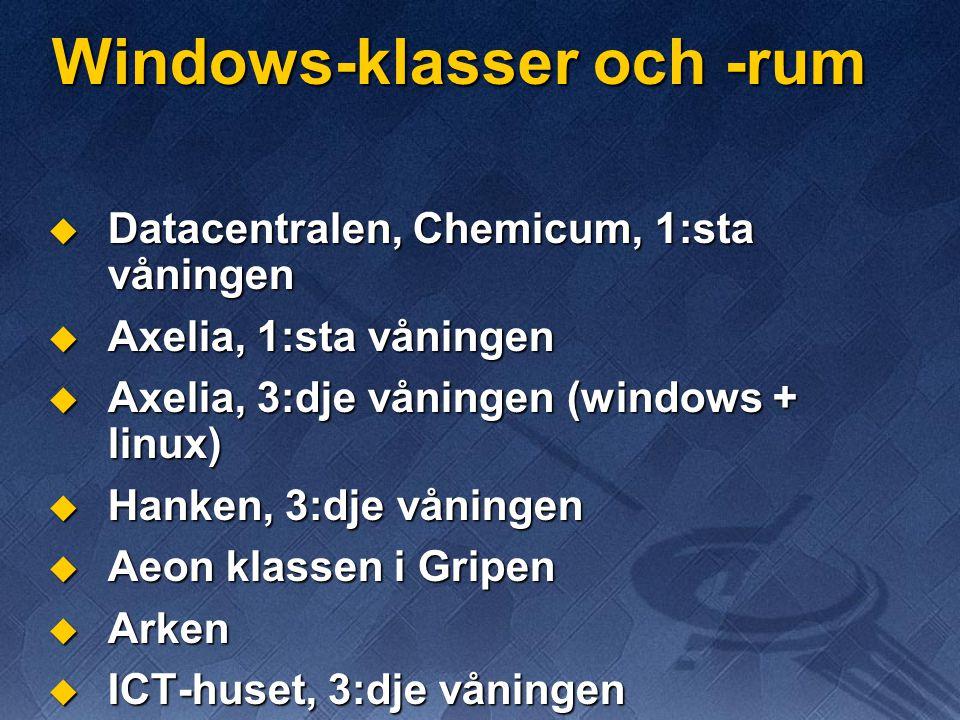 Windows-klasser och -rum  Datacentralen, Chemicum, 1:sta våningen  Axelia, 1:sta våningen  Axelia, 3:dje våningen (windows + linux)  Hanken, 3:dje våningen  Aeon klassen i Gripen  Arken  ICT-huset, 3:dje våningen