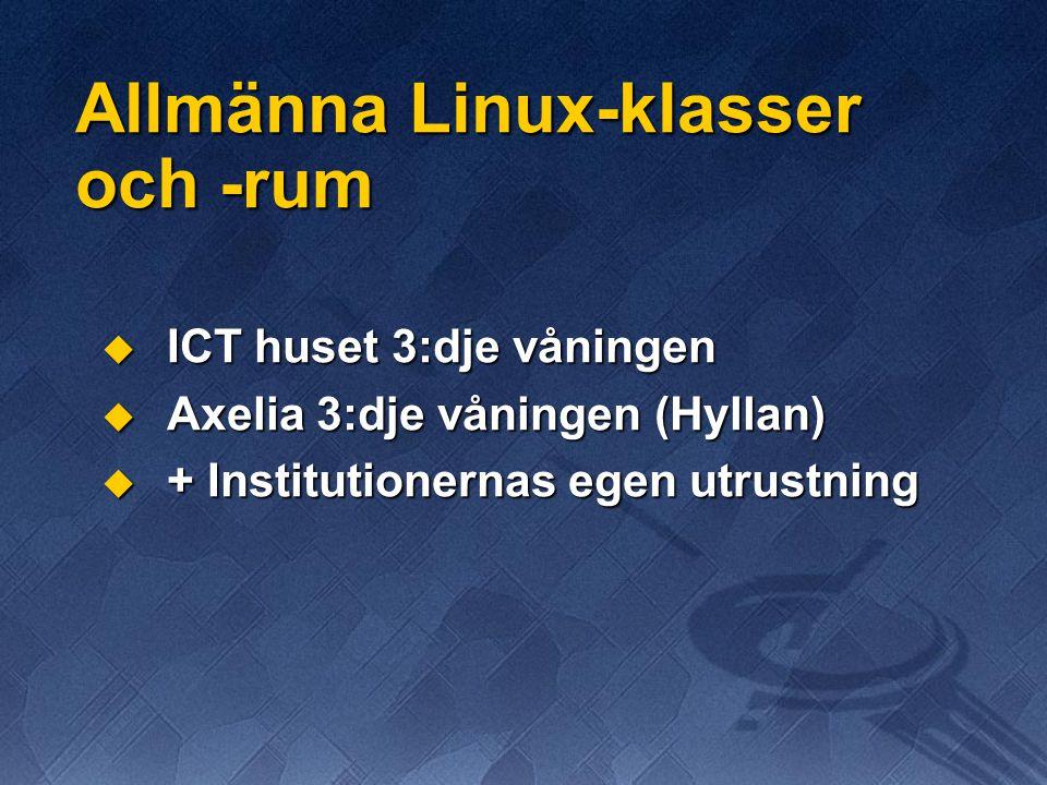 Allmänna Linux-klasser och -rum  ICT huset 3:dje våningen  Axelia 3:dje våningen (Hyllan)  + Institutionernas egen utrustning