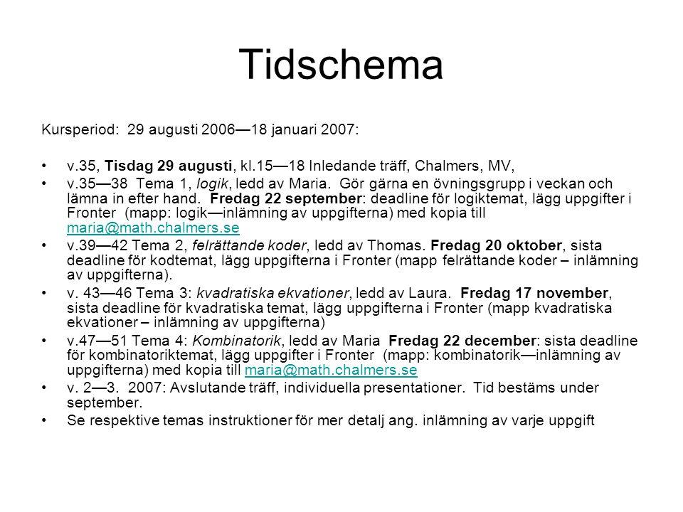 Tidschema Kursperiod: 29 augusti 2006—18 januari 2007: v.35, Tisdag 29 augusti, kl.15—18 Inledande träff, Chalmers, MV, v.35—38 Tema 1, logik, ledd av