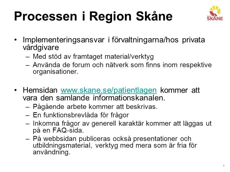 2 Processen i Region Skåne Implementeringsansvar i förvaltningarna/hos privata vårdgivare –Med stöd av framtaget material/verktyg –Använda de forum och nätverk som finns inom respektive organisationer.