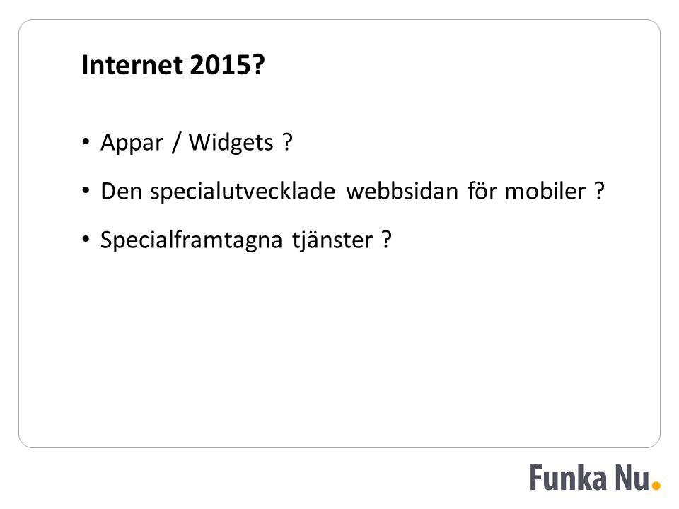 Internet 2015? Appar / Widgets ? Den specialutvecklade webbsidan för mobiler ? Specialframtagna tjänster ?