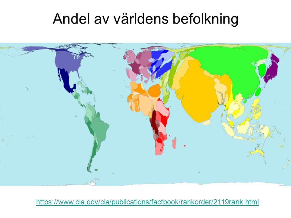 Andel av världens befolkning http://www.sasi.group.shef.ac.uk/worldmapper/ www.worldmapper.org https://www.cia.gov/cia/publications/factbook/rankorder/2119rank.html