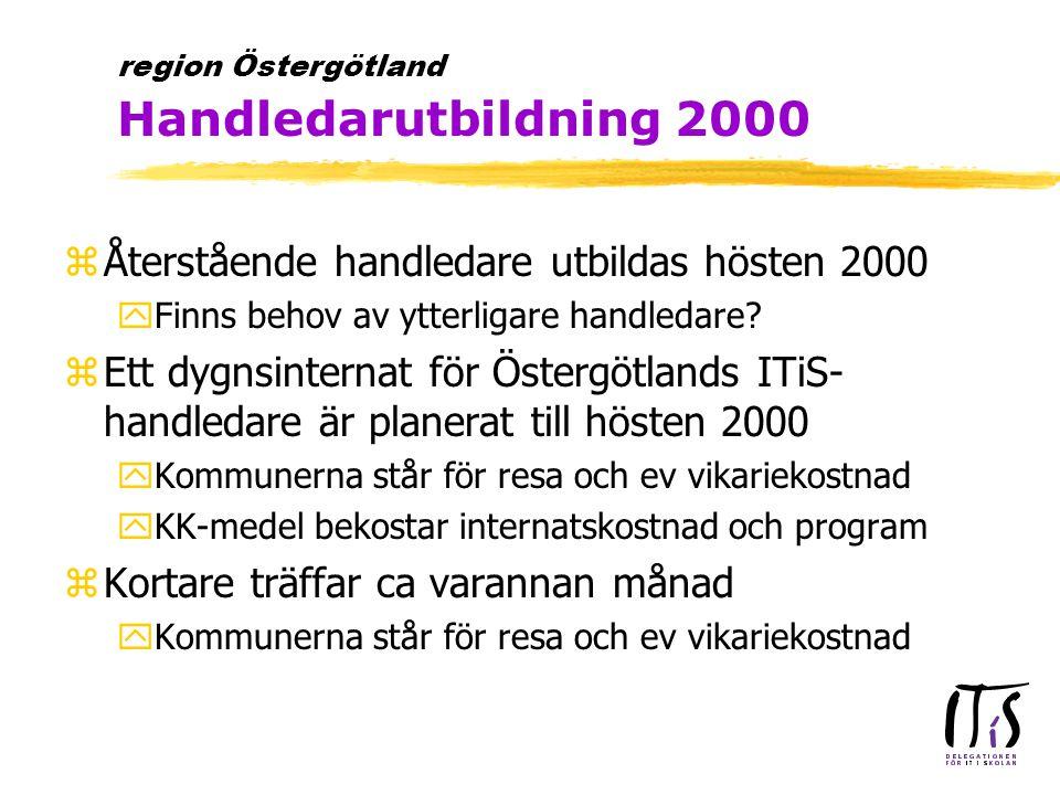 zÅterstående handledare utbildas hösten 2000 yFinns behov av ytterligare handledare? zEtt dygnsinternat för Östergötlands ITiS- handledare är planerat