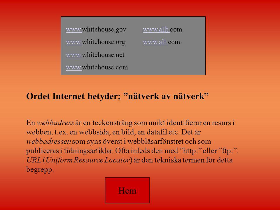 Ordet Internet betyder; nätverk av nätverk En webbadress är en teckensträng som unikt identifierar en resurs i webben, t.ex.