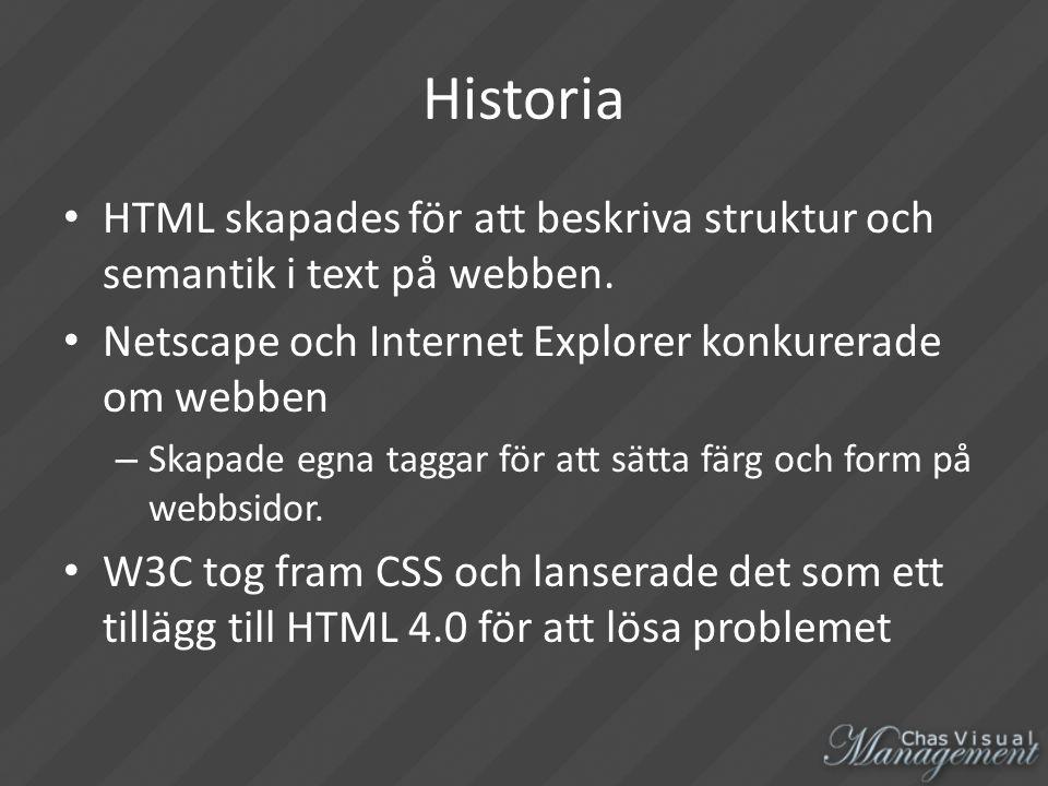 Historia HTML skapades för att beskriva struktur och semantik i text på webben.