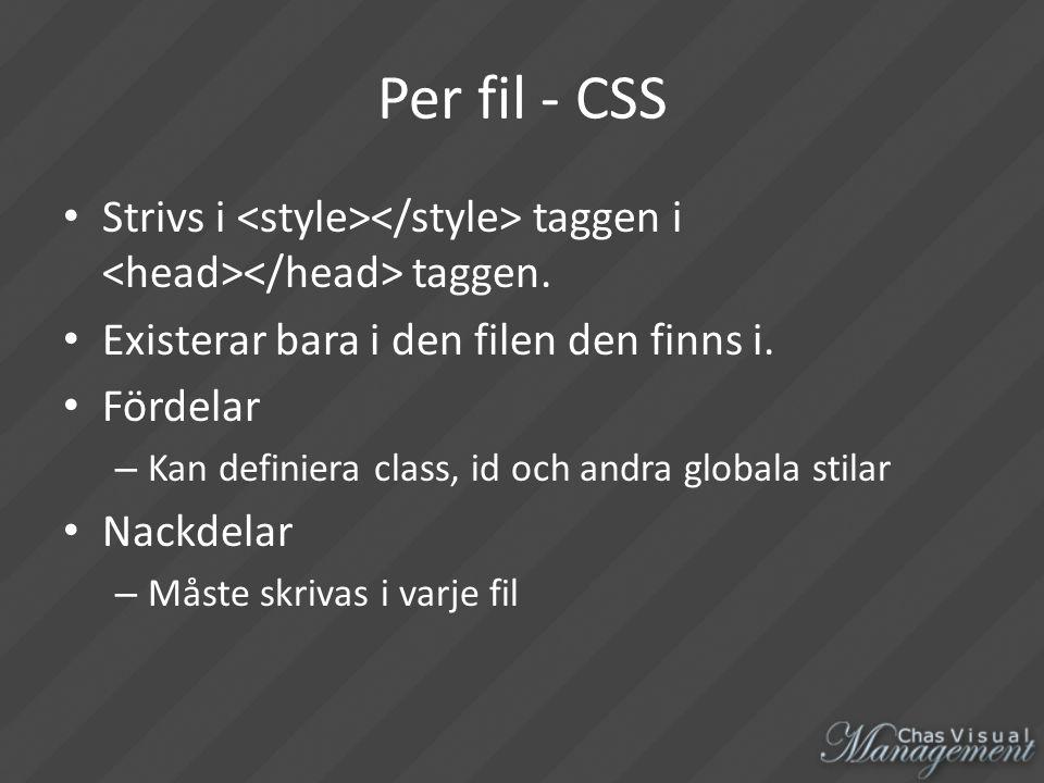 Per fil - CSS Strivs i taggen i taggen. Existerar bara i den filen den finns i.