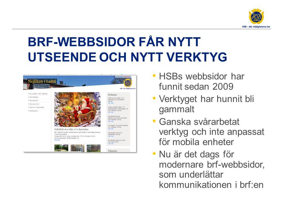 BRF-WEBBSIDOR FÅR NYTT UTSEENDE OCH NYTT VERKTYG HSBs webbsidor har funnit sedan 2009 Verktyget har hunnit bli gammalt Ganska svårarbetat verktyg och
