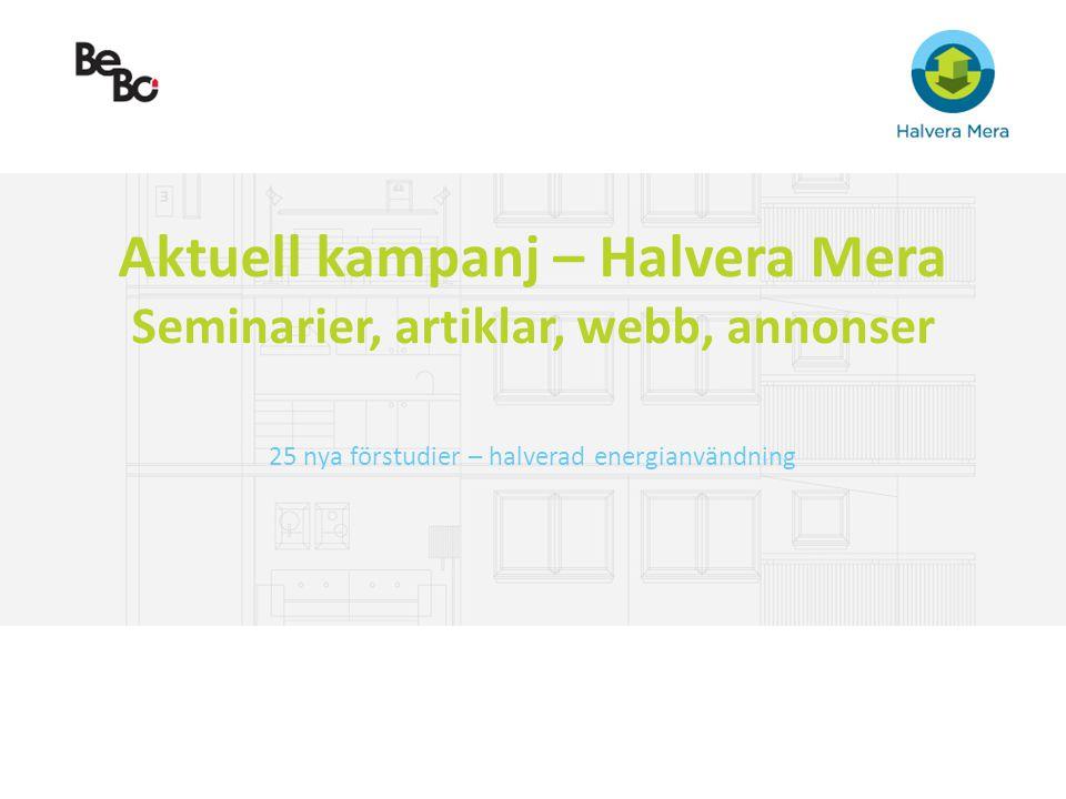 Aktuell kampanj – Halvera Mera Seminarier, artiklar, webb, annonser 25 nya förstudier – halverad energianvändning