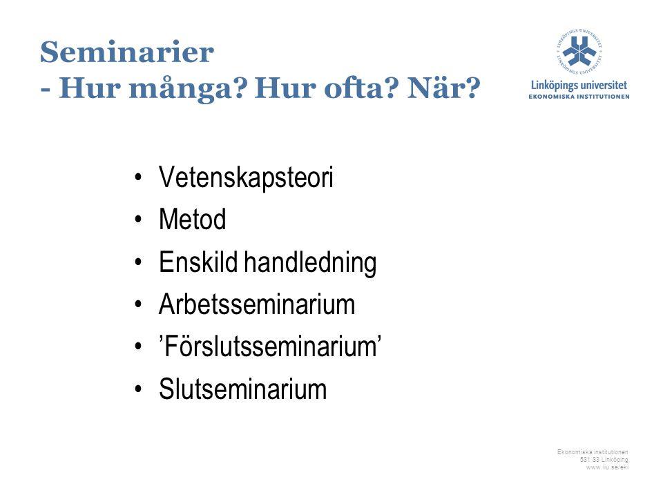 Ekonomiska institutionen 581 83 Linköping www.liu.se/eki Seminarier - Hur många? Hur ofta? När? Vetenskapsteori Metod Enskild handledning Arbetssemina