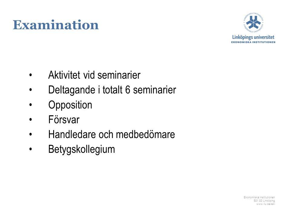 Ekonomiska institutionen 581 83 Linköping www.liu.se/eki Examination Aktivitet vid seminarier Deltagande i totalt 6 seminarier Opposition Försvar Hand