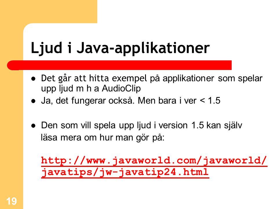 19 Ljud i Java-applikationer Det går att hitta exempel på applikationer som spelar upp ljud m h a AudioClip Ja, det fungerar också.