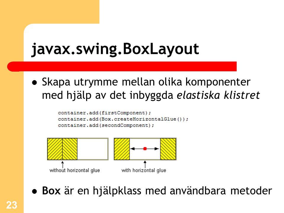 javax.swing.BoxLayout Skapa utrymme mellan olika komponenter med hjälp av det inbyggda elastiska klistret Box är en hjälpklass med användbara metoder 23