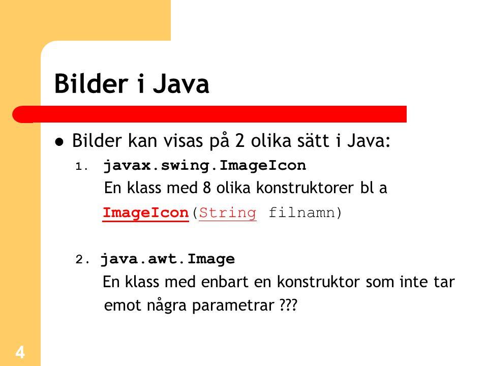Bilder i Java Bilder kan visas på 2 olika sätt i Java: 1.
