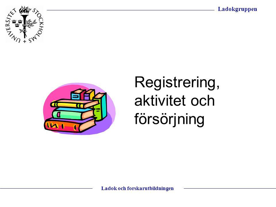 Ladokgruppen Ladok och forskarutbildningen Registrering, aktivitet och försörjning