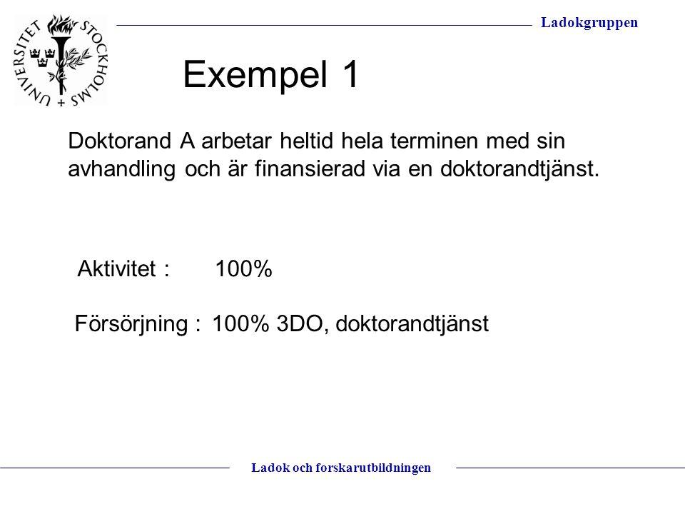 Ladokgruppen Ladok och forskarutbildningen Doktorand A arbetar heltid hela terminen med sin avhandling och är finansierad via en doktorandtjänst. Akti