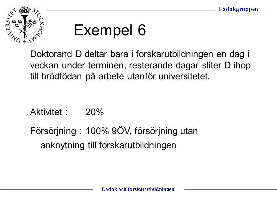 Ladokgruppen Ladok och forskarutbildningen Doktorand D deltar bara i forskarutbildningen en dag i veckan under terminen, resterande dagar sliter D iho