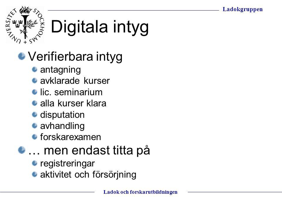 Ladokgruppen Ladok och forskarutbildningen Digitala intyg Verifierbara intyg antagning avklarade kurser lic. seminarium alla kurser klara disputation