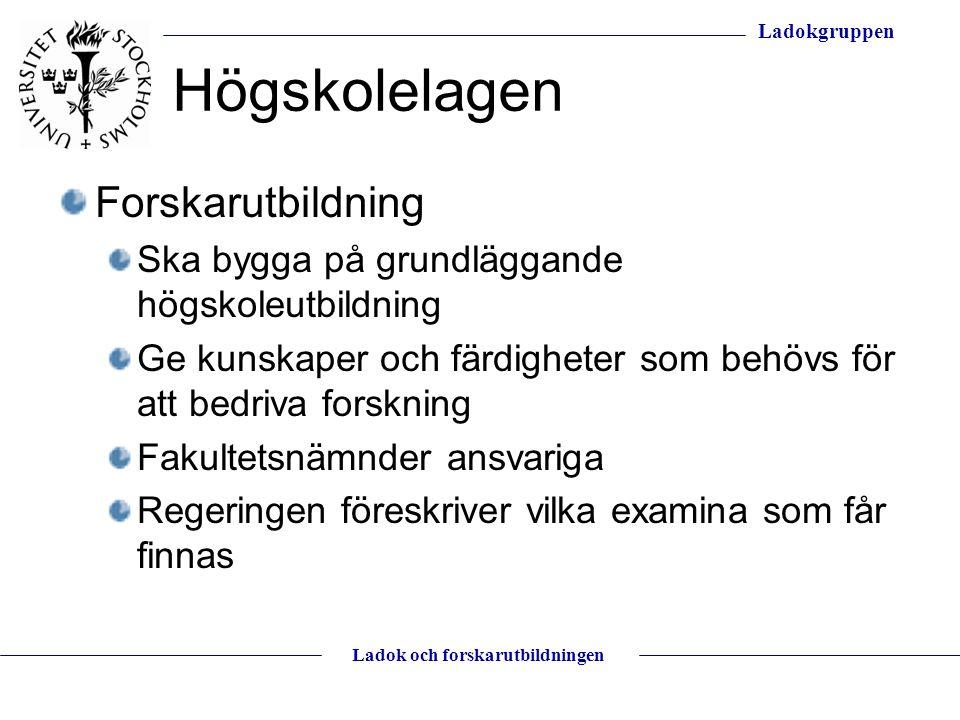 Ladokgruppen Ladok och forskarutbildningen Digitala intyg Verifierbara intyg antagning avklarade kurser lic.