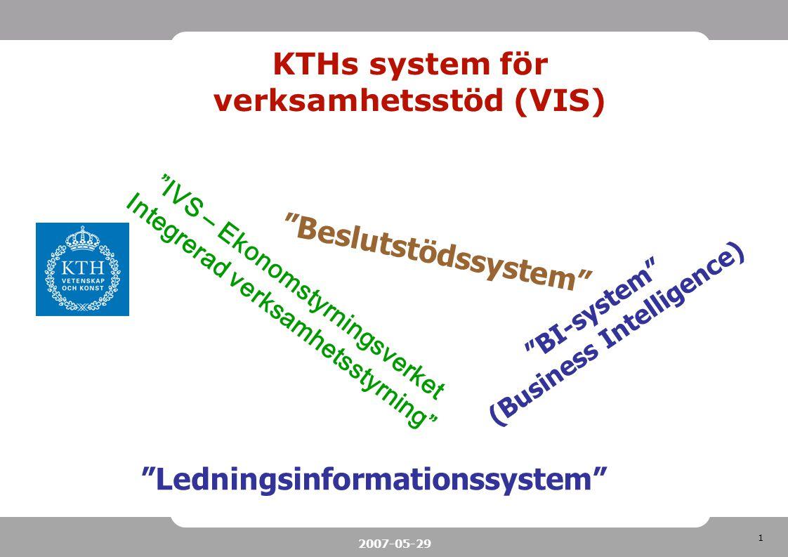 1 2007-05-29 KTHs system för verksamhetsstöd (VIS) IVS – Ekonomstyrningsverket Integrerad verksamhetsstyrning BI-system (Business Intelligence) Beslutstödssystem Ledningsinformationssystem