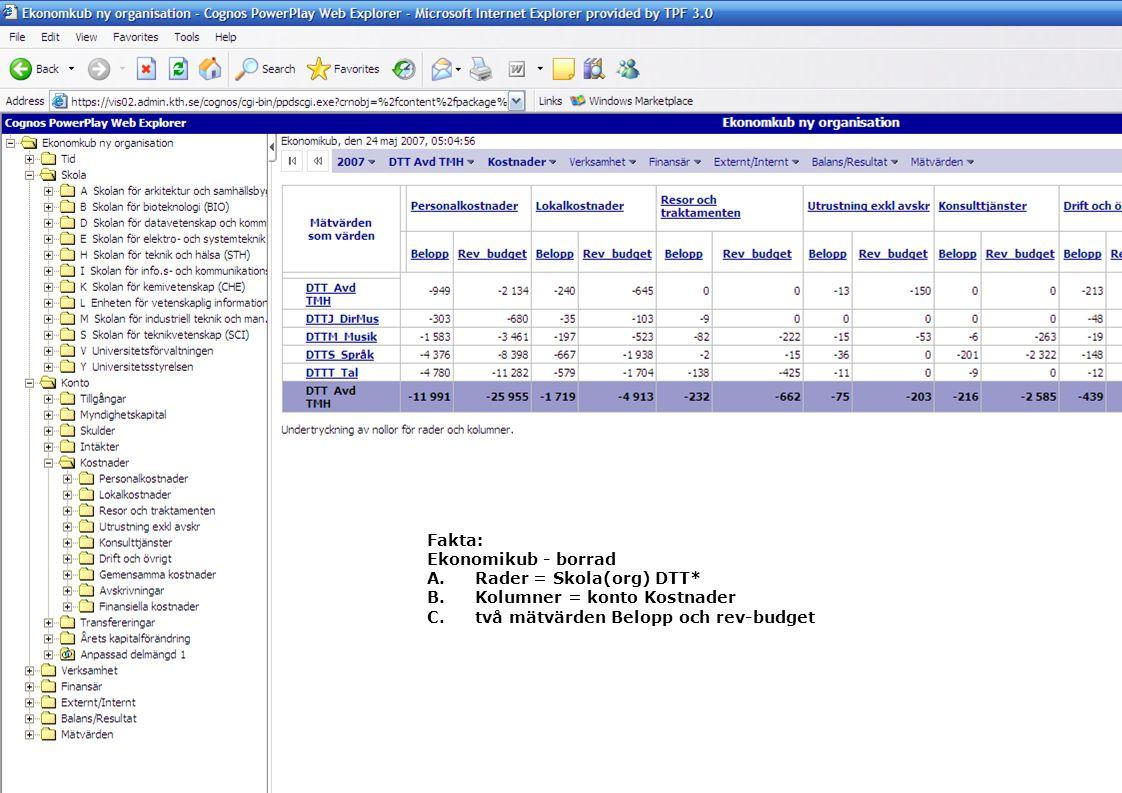 14 2007-05-29 Fakta: Ekonomikub - borrad A.Rader = Skola(org) DTT* B.Kolumner = konto Kostnader C.två mätvärden Belopp och rev-budget