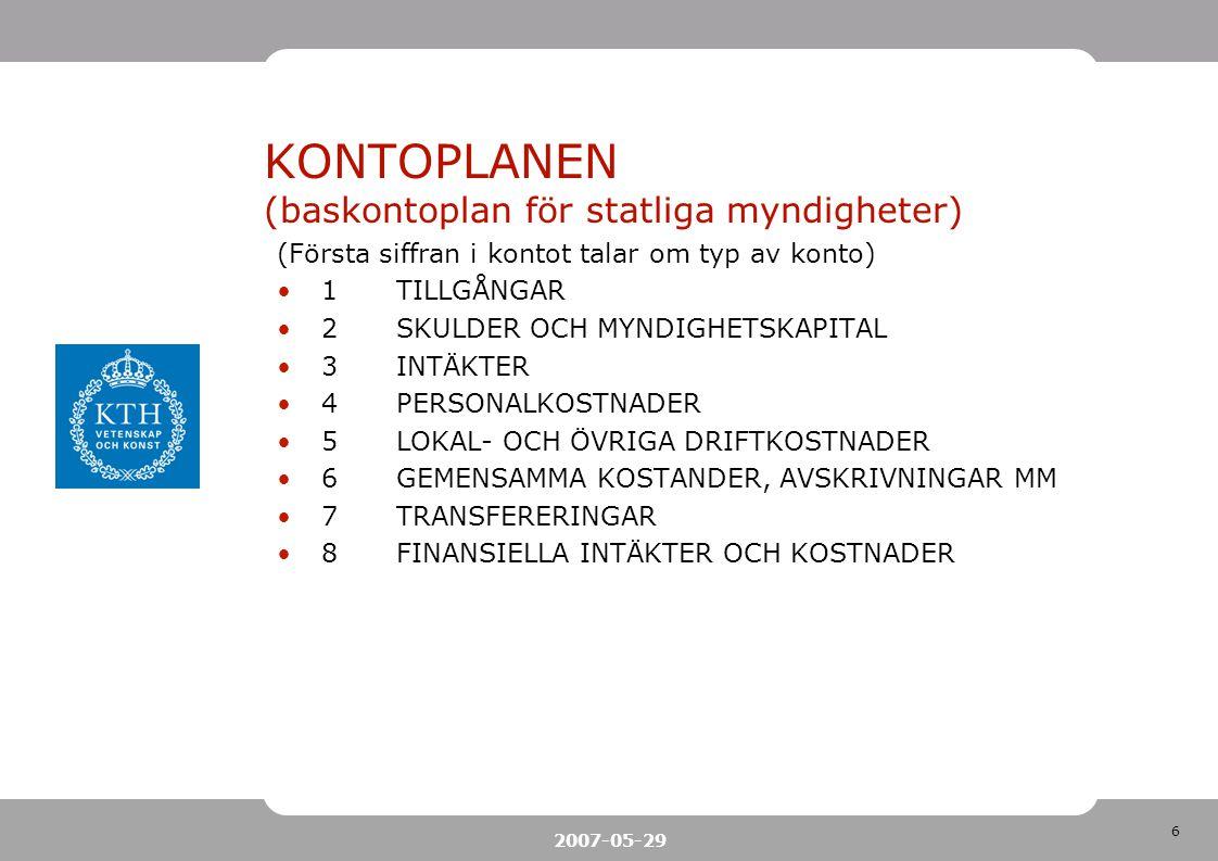 6 2007-05-29 KONTOPLANEN (baskontoplan för statliga myndigheter) (Första siffran i kontot talar om typ av konto) 1TILLGÅNGAR 2SKULDER OCH MYNDIGHETSKAPITAL 3INTÄKTER 4PERSONALKOSTNADER 5LOKAL- OCH ÖVRIGA DRIFTKOSTNADER 6GEMENSAMMA KOSTANDER, AVSKRIVNINGAR MM 7TRANSFERERINGAR 8FINANSIELLA INTÄKTER OCH KOSTNADER