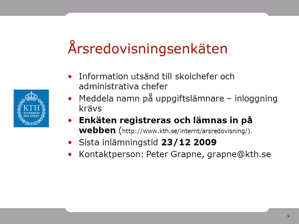 9 Årsredovisningsenkäten Information utsänd till skolchefer och administrativa chefer Meddela namn på uppgiftslämnare – inloggning krävs Enkäten registreras och lämnas in på webben ( http://www.kth.se/internt/arsredovisning/).