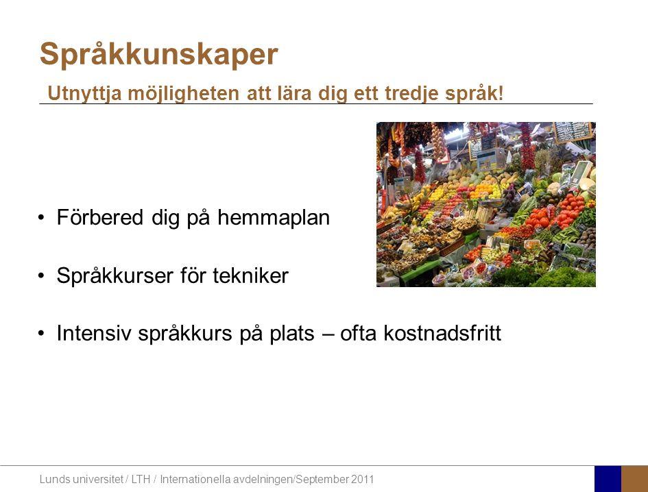 Lunds universitet / LTH / Internationella avdelningen/September 2011 Förbered dig på hemmaplan Språkkurser för tekniker Intensiv språkkurs på plats –