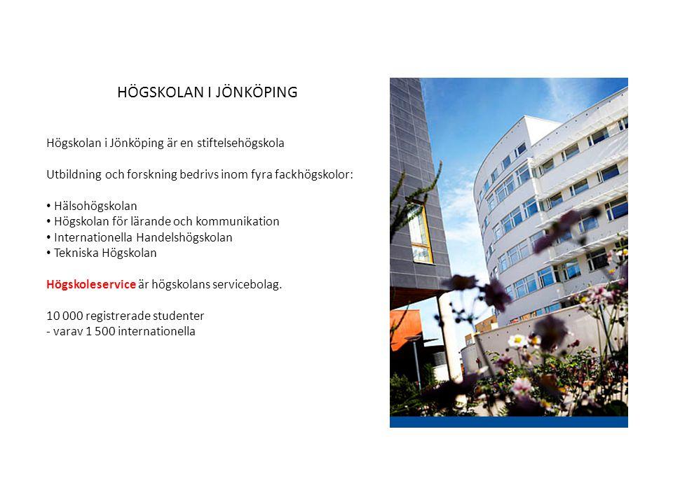 Högskolan i Jönköping är en stiftelsehögskola Utbildning och forskning bedrivs inom fyra fackhögskolor: Hälsohögskolan Högskolan för lärande och kommu