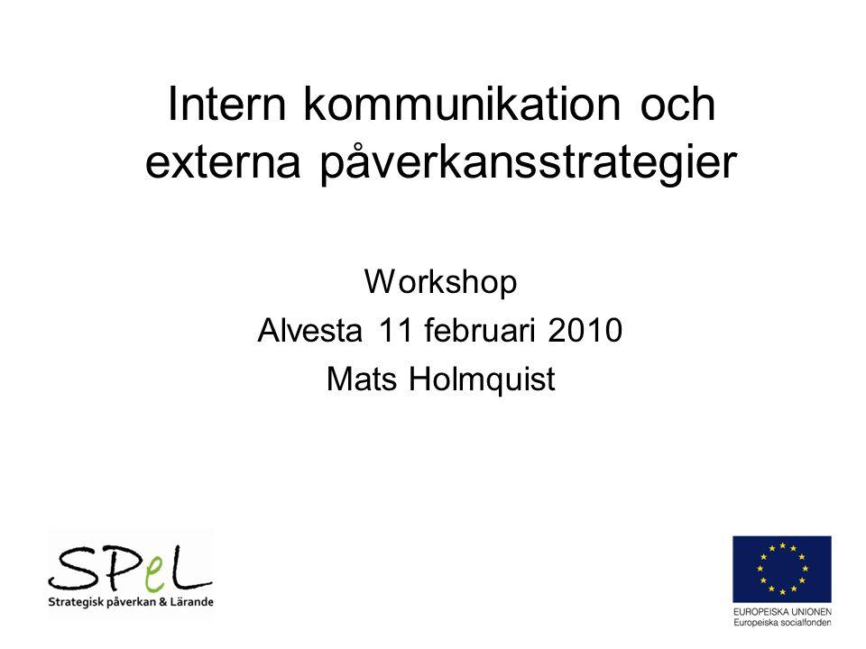 Intern kommunikation och externa påverkansstrategier Workshop Alvesta 11 februari 2010 Mats Holmquist