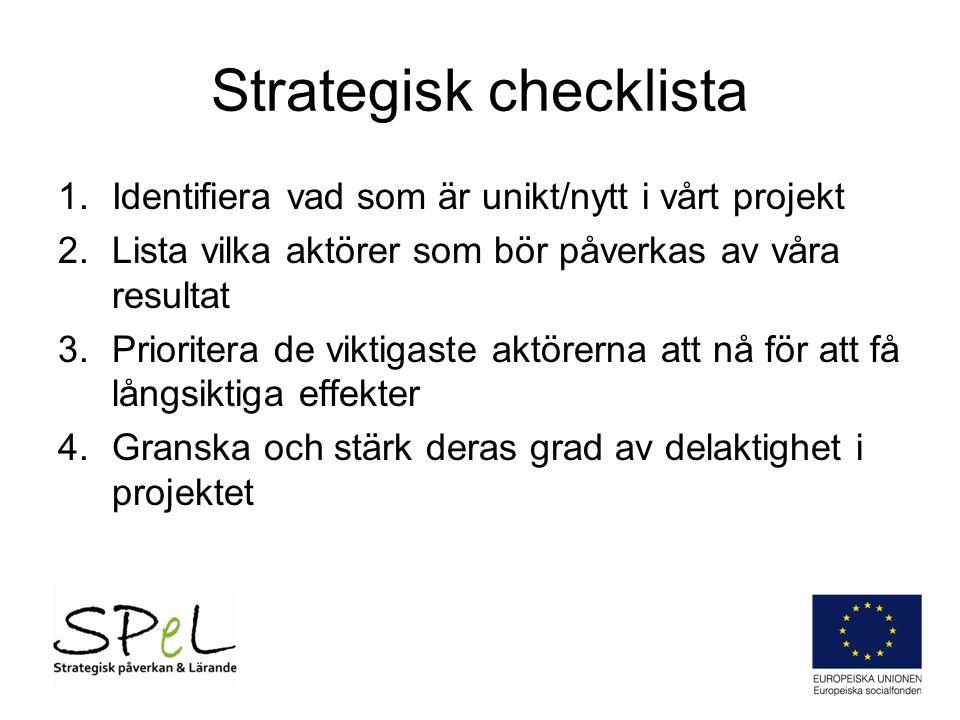 Strategisk checklista 1.Identifiera vad som är unikt/nytt i vårt projekt 2.Lista vilka aktörer som bör påverkas av våra resultat 3.Prioritera de vikti